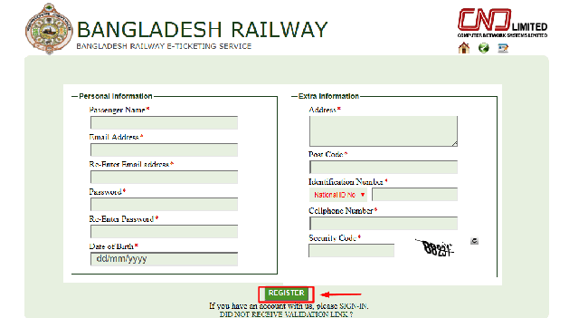 How to register on Railway official Site