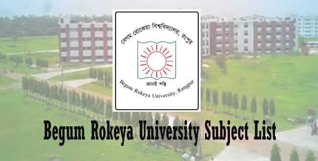 Begum Rokeya University Subject List